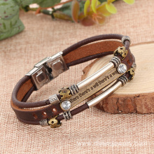 Alloy Rhinestone Handmade Leather Bracelets Bangles For Guys